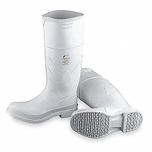 "16""H Men's Knee Boots, Steel Toe Type, PVC Upper Material, White, Size 10"