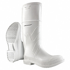 "16""H Men's Knee Boots, Steel Toe Type, PVC Upper Material, White, Size 7"