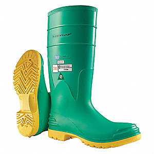 "15""H Men's Knee Boots, Steel Toe Type, PVC Upper Material, Green, Size 6"