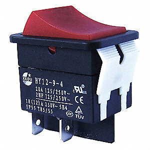 "Rocker Switch, Contact Form: SPST, Number of Connections: 2, Terminals: 0.250"" Quick Connect Tab"