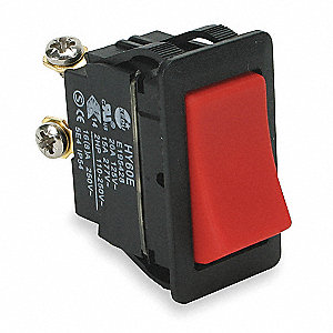 Rocker Switch, Contact Form: SPST, Number of Connections: 2, Terminals: Screw