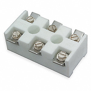 "Ceramic Terminal Block, High Temperature 3-Pole, Voltage 600, Length 1-1/4"", Width 2-7/16"""
