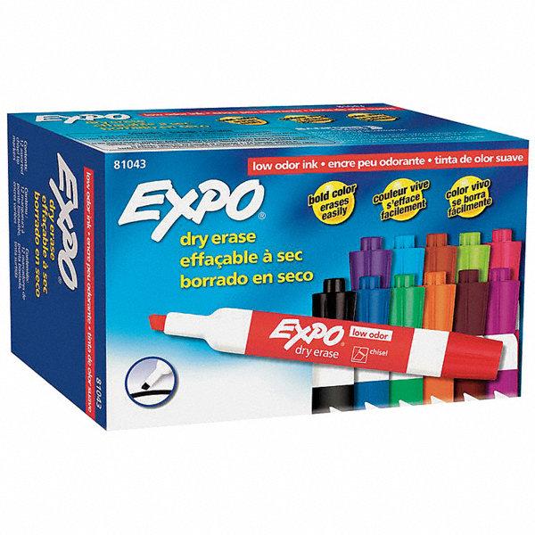 EXPO Chisel-Tip Dry Erase Marker Set, Black, Blue, Green