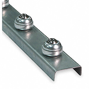 "Flow Rail Ball Transfer, Overall Width 2-1/2"", Overall Length 5 ft., Wheel Dia. 1"""