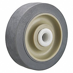 "3"" Caster Wheel, 200 lb. Load Rating, Wheel Width 1-1/4"", Thermoplastic Rubber, Fits Axle Dia. 1/2"""