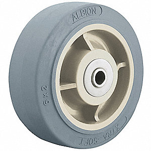 "4"" Caster Wheel, 350 lb. Load Rating, Wheel Width 2"", Thermoplastic Rubber, Fits Axle Dia. 1/2"""