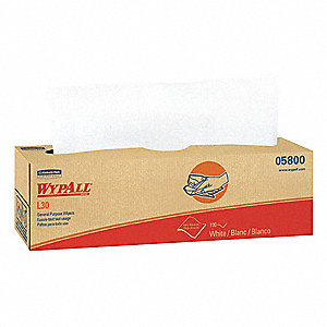 "DRC (Double Re-Creped) Disposable Wipes, 100 Ct. 9-4/5"" x 16-2/5"" Sheets, White"