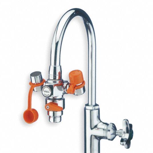 eyewash w diverter faucet mount pull handle assembled no bowl