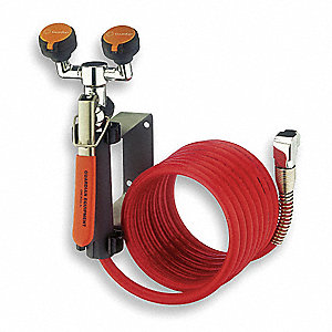 Dual Head Drench Hose, Wall Mount, 12 ft. Hose Length, Stay-Open