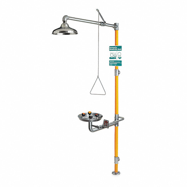 GUARDIAN EQUIPMENT Shower with Eye/Face Wash, Floor Mount