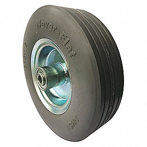 "8"" Light-Medium Duty Ribbed Tread Flat-Free Wheel, 300 lb. Load Rating"