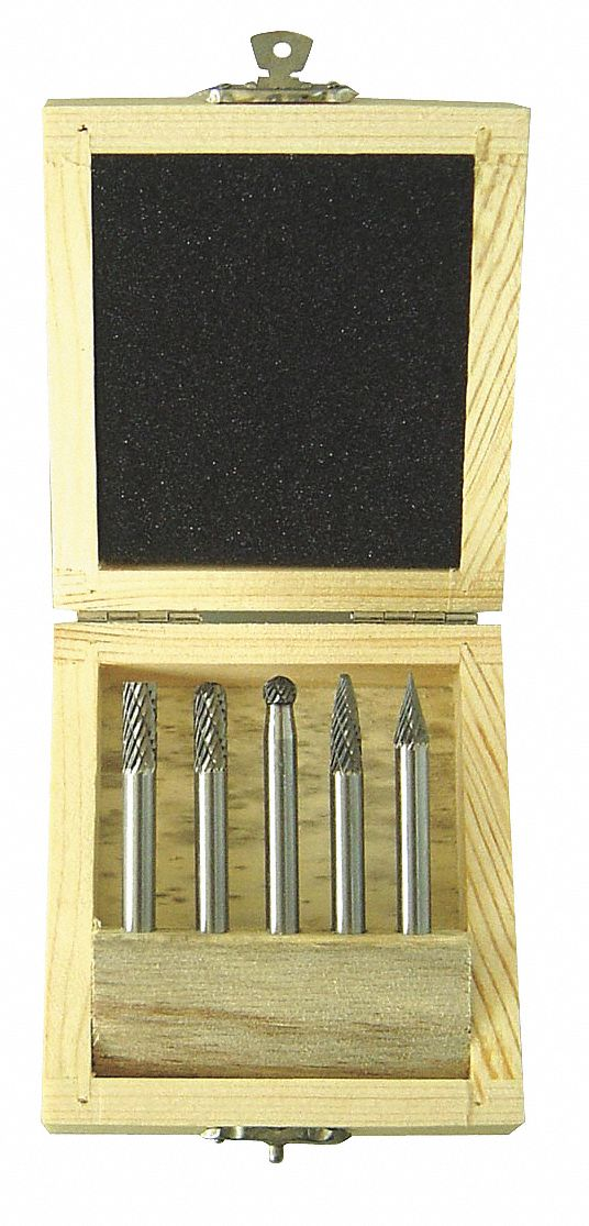 Carbide Bur Set,  Double Cut,  Cylindrical, Cylindrical Ball Nose, Tree, Ball, Pointed Cone