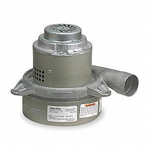 "Tangential Bypass Vacuum Motor, 7.2"" Body Dia., 120 Voltage, Blower Stages: 3"