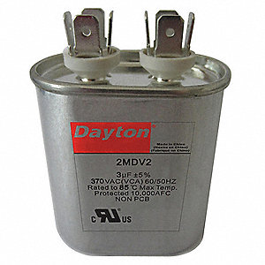 Oval Motor Run Capacitor,40 Microfarad Rating,370VAC Voltage