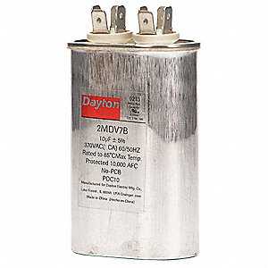 Oval Motor Run Capacitor,10 Microfarad Rating,370VAC Voltage