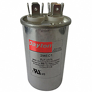 Round Motor Run Capacitor,45 Microfarad Rating,370VAC Voltage
