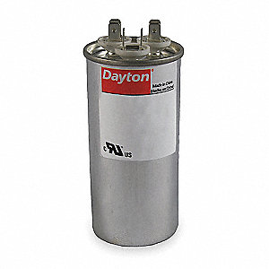 Round Motor Dual Run Capacitor,80/7.5 Microfarad Rating,370VAC Voltage