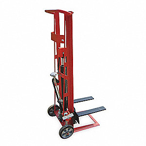 "Fixed Base Hydraulic Stacker, 750 lb., Fork Width 3"", Fork Length 18"", Lifting Height Max. 54"""
