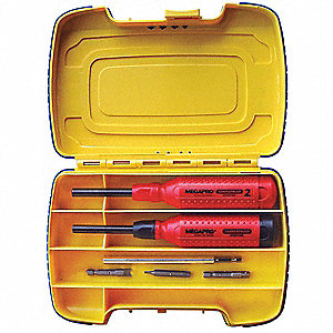 "8-1/2"" 15-in-1 Security Fasteners Multi-Bit Screwdriver Set&#x3b; Number of Pieces: 19"