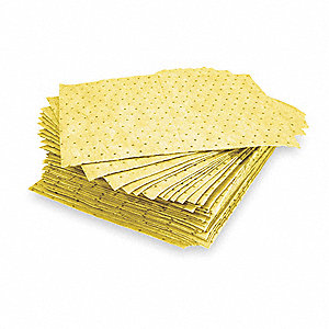 Absorbent Pad,Chem/Hazmat,Yellow,PK100