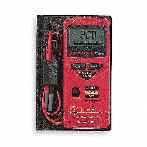 Multímetro Digital, 3400 Conteos, Precisión ±1% + 2 Dígitos, Promedio, Amperes Máx. CA 10, Voltios Máx. CA 600