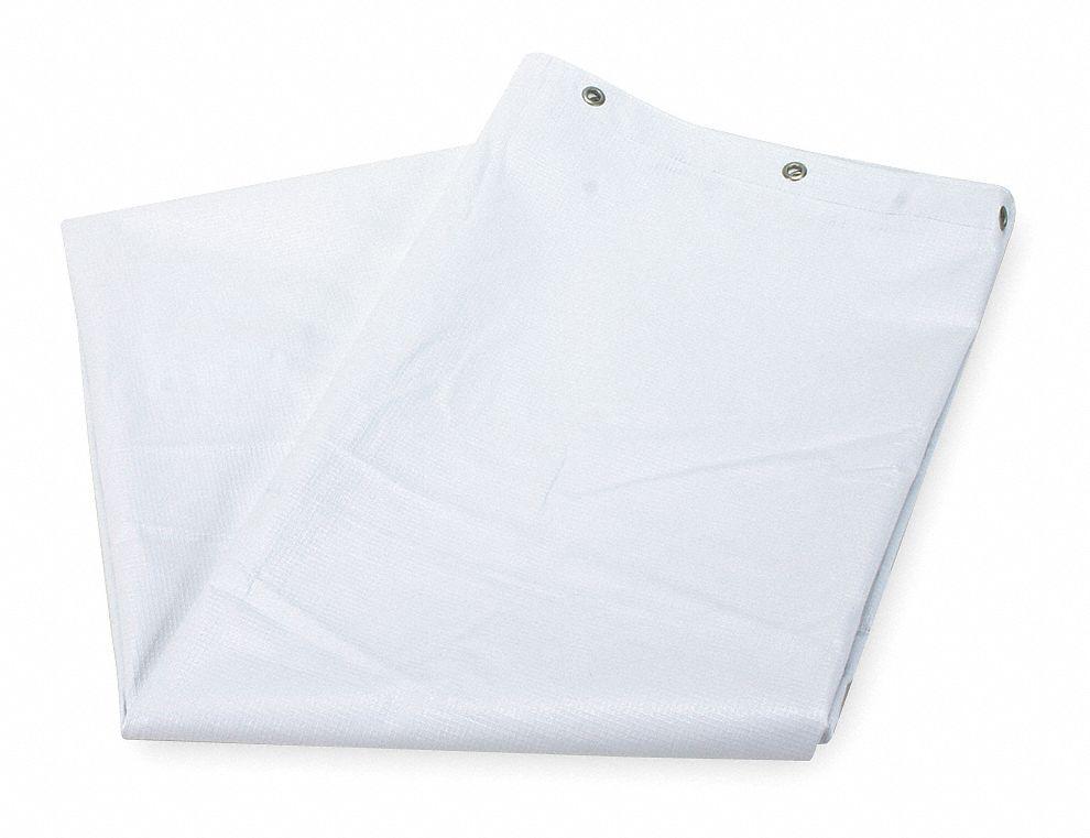 GRAINGER APPROVED 72H X 42W Vinyl Shower Curtain White Standard Grommets
