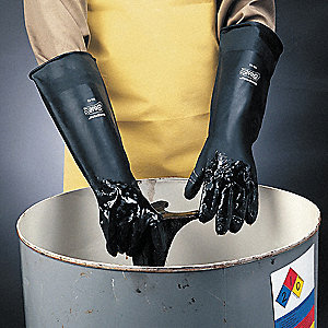 Chemical Resistant Gloves, Heavy Weight Thickness, Unlined Lining, Black, PR 1