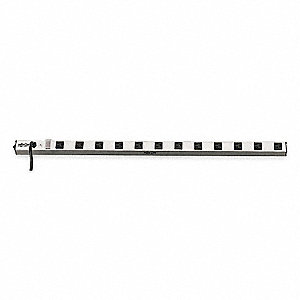 Gray Aluminum Outlet Strip, 12 Number of Outlets, 15 ft. Cord Length