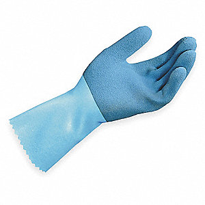 Natural Rubber Latex Chemical Resistant Gloves, 45 mil Thickness, Knit Lining, Size 8, Blue, PR 1