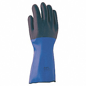 Neoprene Chemical Resistant Gloves, Heavy Weight Thickness, Insulated Lining, Size 8, Blue/Black