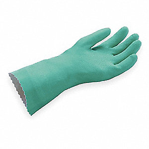 Nitrile Chemical Resistant Gloves, Standard Weight Thickness, Cotton Lining, Size 10, Green, PR 1