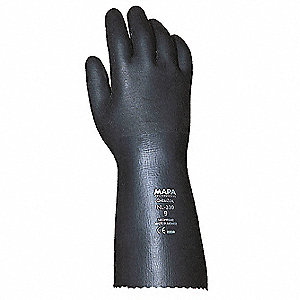 Neoprene Chemical Resistant Gloves, Heavy Weight Thickness, Knit Lining, Size 10, Black, PR 1