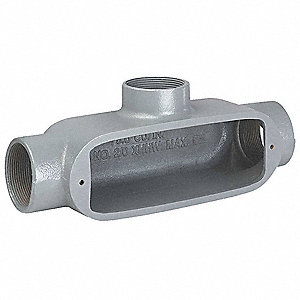 Conduit Outlet Body, Copper Free Aluminum, T Body Style, Threaded, Flat