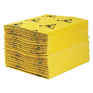 "19"" x 15"" Medium Absorbent Pad for Chemical / Hazmat, Yellow&#x3b; PK100"