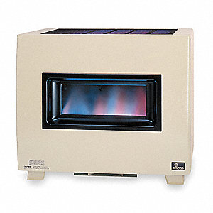 "Gas Fired Room Heater, NG, BtuH Output 33,000, 5"" Vent, Width 34"", Height 29-5/8"", Depth 20"""