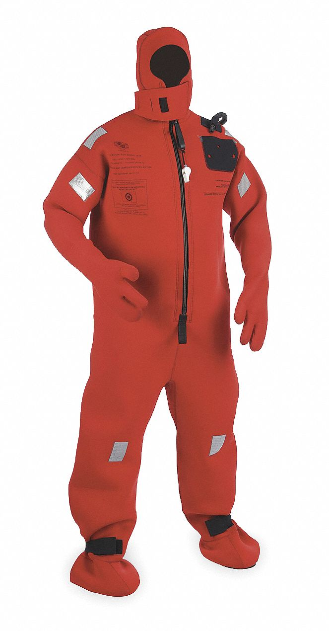 Cold Water Immersion Suit,  Universal,  Stretchable Flame Retardant Neoprene,  Orange