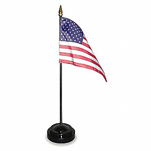 "US Desk Flag Set, 4"" Height, 6"" Width, Includes Black Styrene Stand with 10"" Staff"