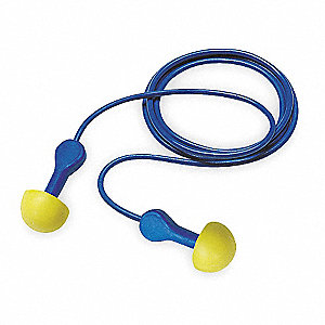 25dB Reusable Pod-Shape Ear Plugs; Corded, Yellow, Universal