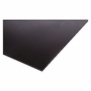 "Sheet Stock, UHMW, 48""L x 24""W x  0.250"" Thick, 180 Max. Temp. (F), Black"