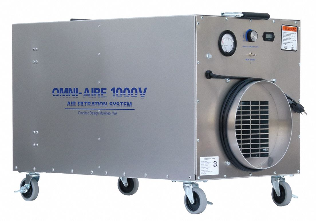 HEPA Negative Air Machine,  Variable Speed Thermally Protected Motor,  HP 1/2 hp,  Voltage 115 V