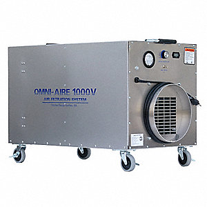 HEPA Negative Air Machine, 1/2 HP, 115 Voltage, 5.8 Amps, 300 to 950 cfm