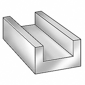 U-Channel,AL 6063,1 In Leg,3 In x 8 ft