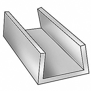 U-Channel,AL 6063,2 In Leg,5 In x 8 ft