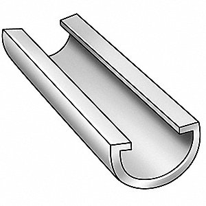 "Half Round Conveyor Guide Rail, UHMW, 17/64"" Inside Radius, 25/64"" Outside Radius"