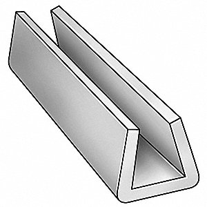 "Snap On Conveyor Guide Rail, UHMW, 1/8"" Top Opening Width, 1/16"" Bottom Opening Width"