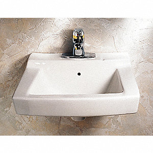 "Vitreous China Wall Bathroom Sink Without Faucet, 14-1/4"" x 10-3/4"" Bowl Size"