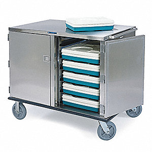 Meal Delivery Cart, Tray Size (In.): 14 x 18, 15 x 20, Silver