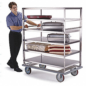 "51-3/4"" x 30-3/4"" x 64-3/4"" Stainless Steel Banquet Cart with 1000 lb. Load Capacity, Silver"