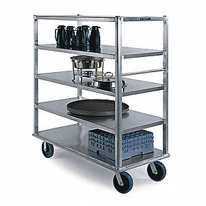 Banquet Cart,Aluminum,5 Shelves,73x27