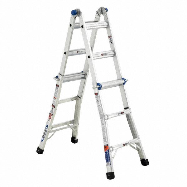 werner aluminum extension  scaffold  staircase  stepladder configured multipurpose ladder  31 5